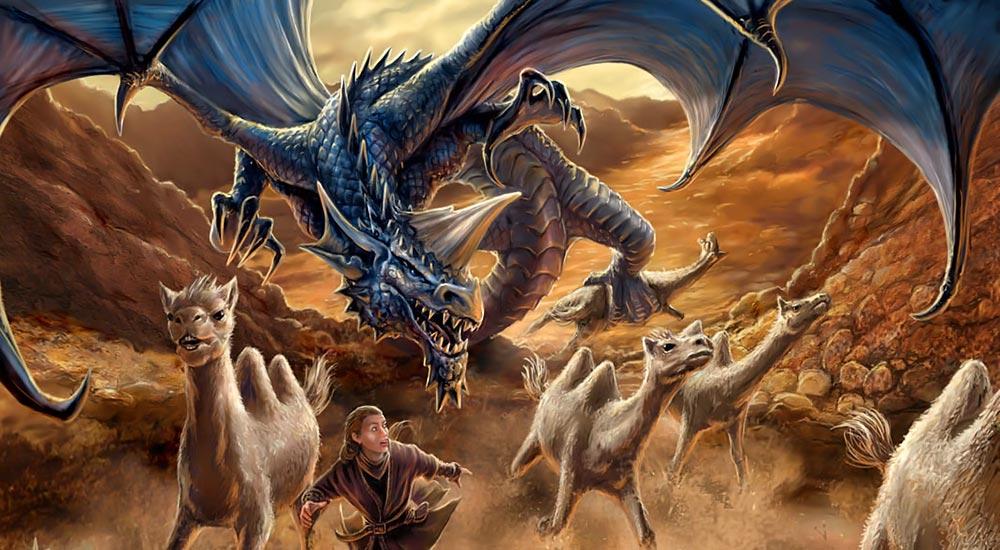Dragón azul. Imagen de Anne Stokes