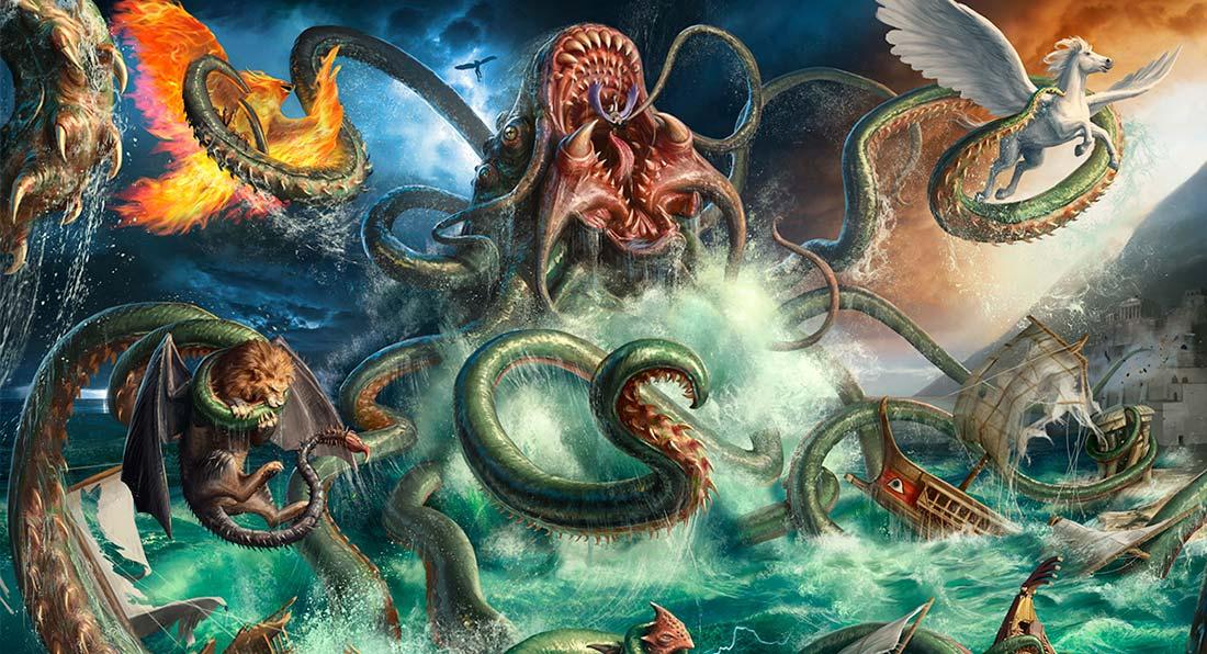 Kraken vs seres mitológicos. Imagen de  Jarrod Owen